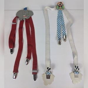 Vtg Disney Suspenders Leather Dumbo Plastic Mickey